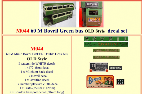 "M044 Tri-ang ( Triang ) Minic 60M  "" BOVRIL "" Green Double Decker bus "" OLD STYLE "" decal set"